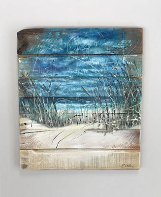 beach scene beach art ocean wall art coastal decor surf dunes pallet wood. Black Bedroom Furniture Sets. Home Design Ideas