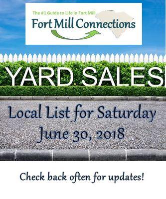 Yard Sales Rock Hill Sc >> Local Yard Sales - Saturday, June 30th - Fort Mill Area